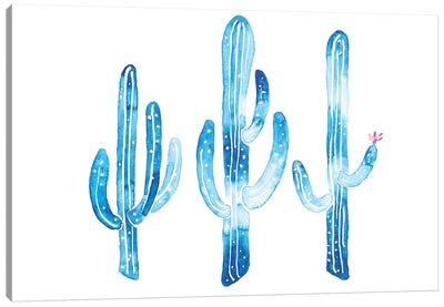 Blue Cactus Canvas Art Print