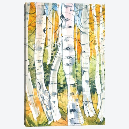 Autumn Birch Trees Canvas Print #LSM152} by Luisa Millicent Canvas Art Print