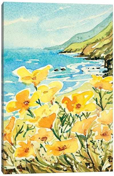 Poppies on the way to Carmel Canvas Art Print