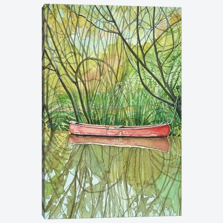 Red Canoe Canvas Print #LSM174} by Luisa Millicent Canvas Wall Art