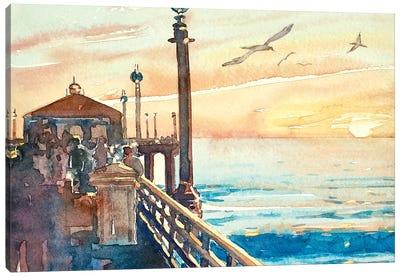 The Pier at Manhattan Beach Canvas Art Print