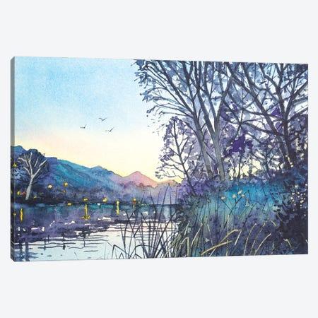 April Dusk - Malibou Lake Canvas Print #LSM29} by Luisa Millicent Canvas Art