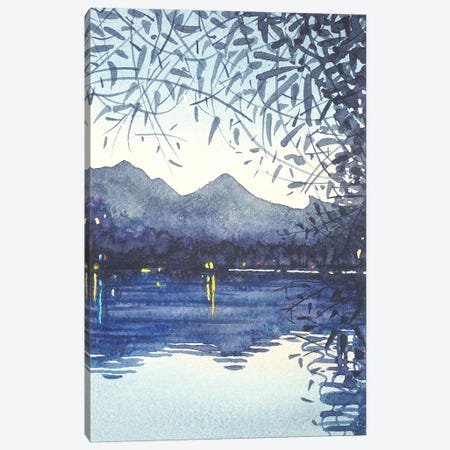 Winter Sunset On The Lake Canvas Print #LSM49} by Luisa Millicent Canvas Artwork