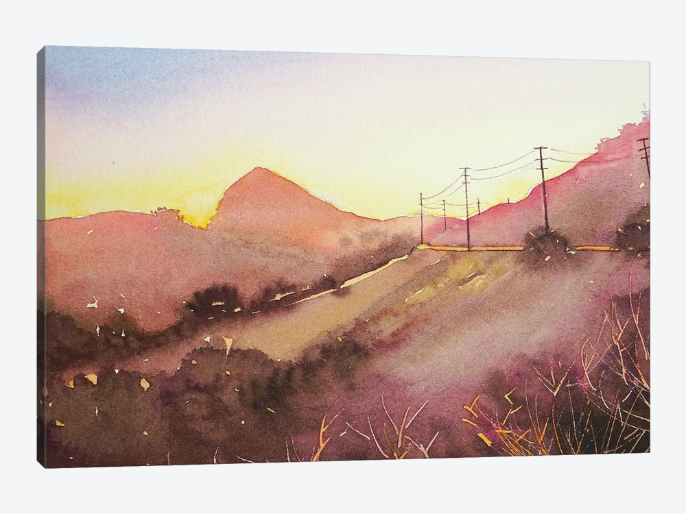Reagan Ranch From Mulholland - Dusk by Luisa Millicent 1-piece Canvas Art