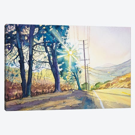Three Pines On Mulholland Canvas Print #LSM74} by Luisa Millicent Canvas Artwork