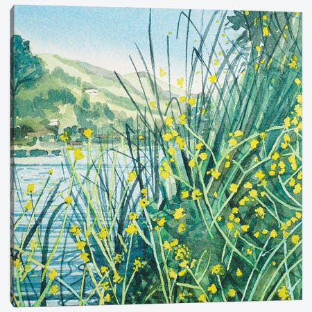 Spring Colors At The Lakeside Canvas Print #LSM77} by Luisa Millicent Canvas Artwork