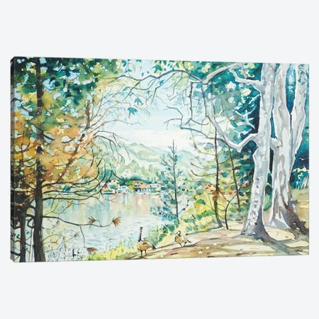 Spring View - Malibou Lake Canvas Print #LSM80} by Luisa Millicent Canvas Wall Art
