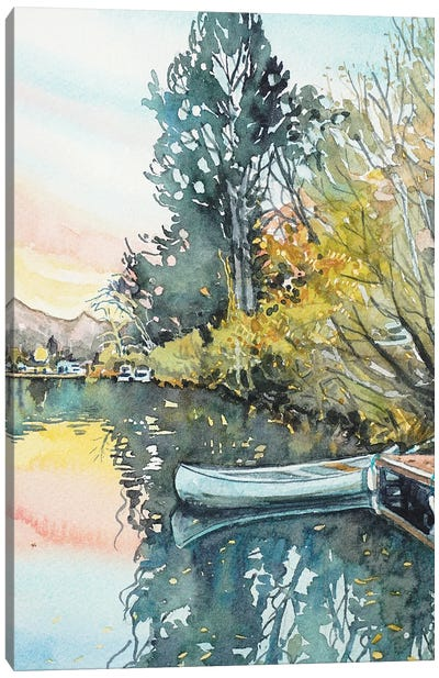 Still Sunset At The Lake Canvas Art Print