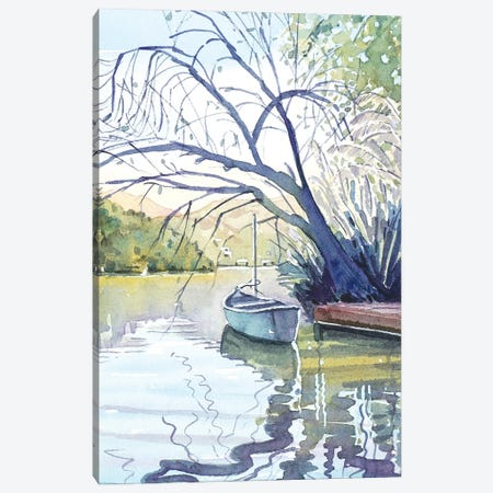 The Lonely Canoe Canvas Print #LSM9} by Luisa Millicent Canvas Art Print