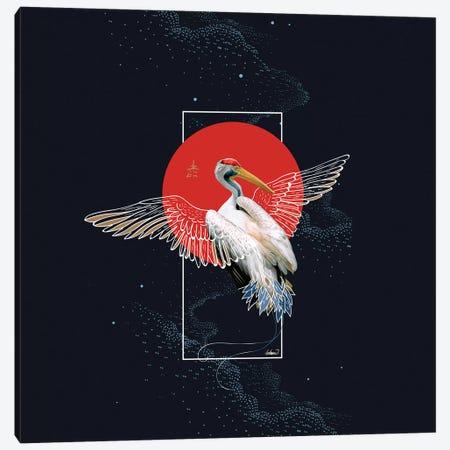 Cranes Japonese Kimono Canvas Print #LSN10} by Lostanaw Canvas Art