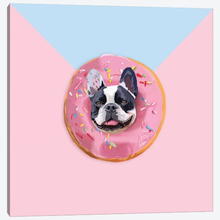 French Bulldog Donut Canvas Print #LSN20} by Lostanaw Canvas Art Print