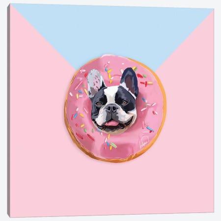 French Bulldog Donut Canvas Print #LSN20} by Lostanaw Canvas Art Print