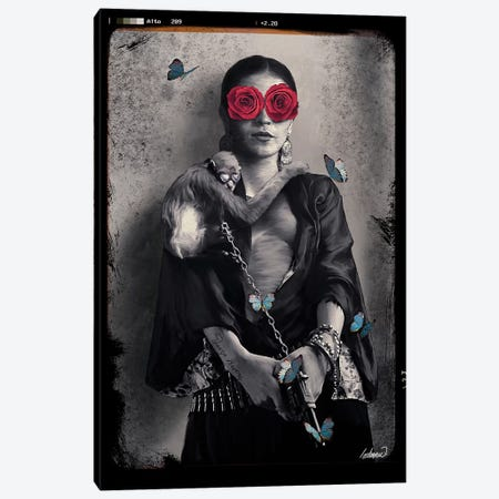 Frida Kahlo My Treasure Canvas Print #LSN21} by Lostanaw Canvas Art Print