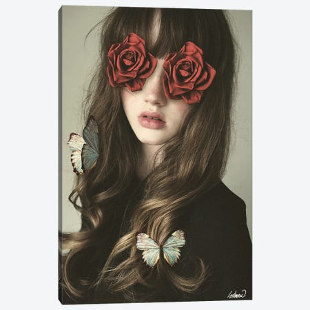 Girl Flower Eyes Manipulation Canvas Print #LSN24} by Lostanaw Canvas Wall Art