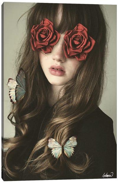 Girl Flower Eyes Manipulation Canvas Art Print