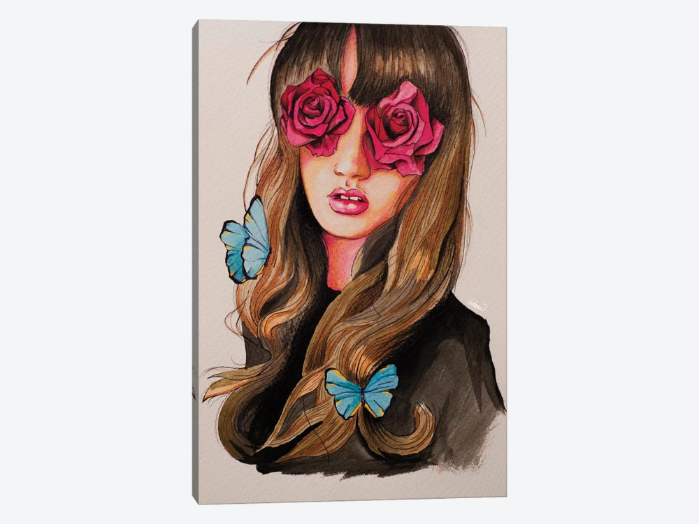 Girl Flower Eyes Paint by Lostanaw 1-piece Canvas Wall Art