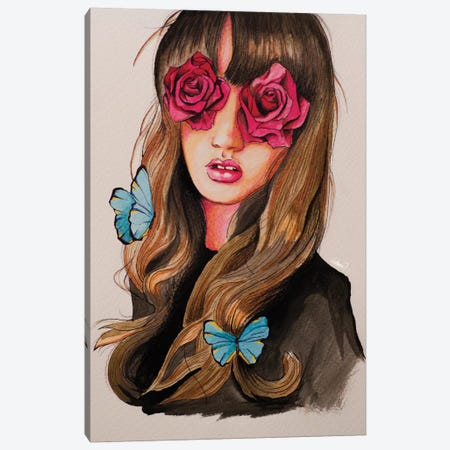 Girl Flower Eyes Paint Canvas Print #LSN25} by Lostanaw Canvas Art