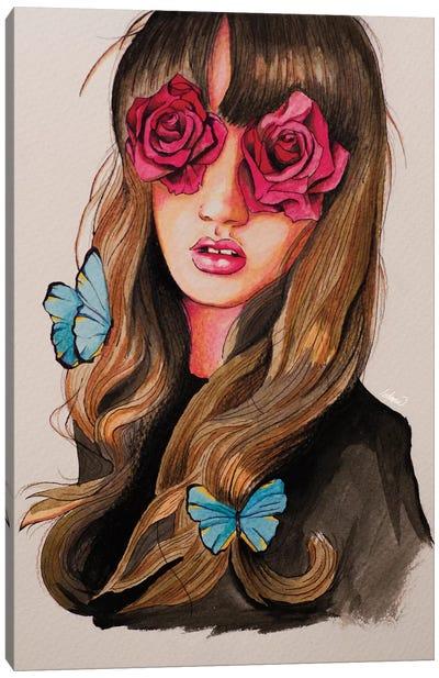 Girl Flower Eyes Paint Canvas Art Print