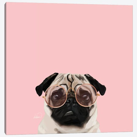 Intellectual Pug Canvas Print #LSN27} by Lostanaw Canvas Art
