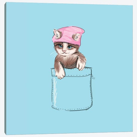 Little Cat In Pocket Canvas Print #LSN32} by Lostanaw Canvas Art