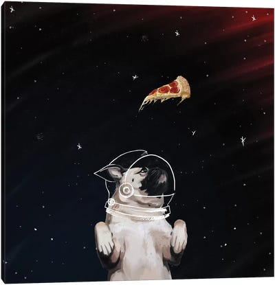 Pug And Pizza Space Canvas Art Print