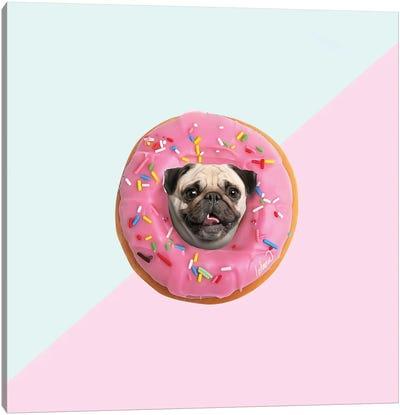 Pug Donut Strawberry I Canvas Art Print
