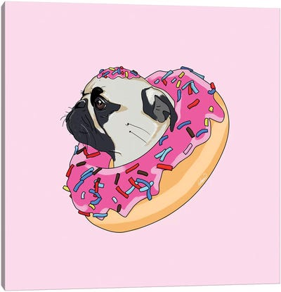 Pug Donut Strawberry II Canvas Art Print