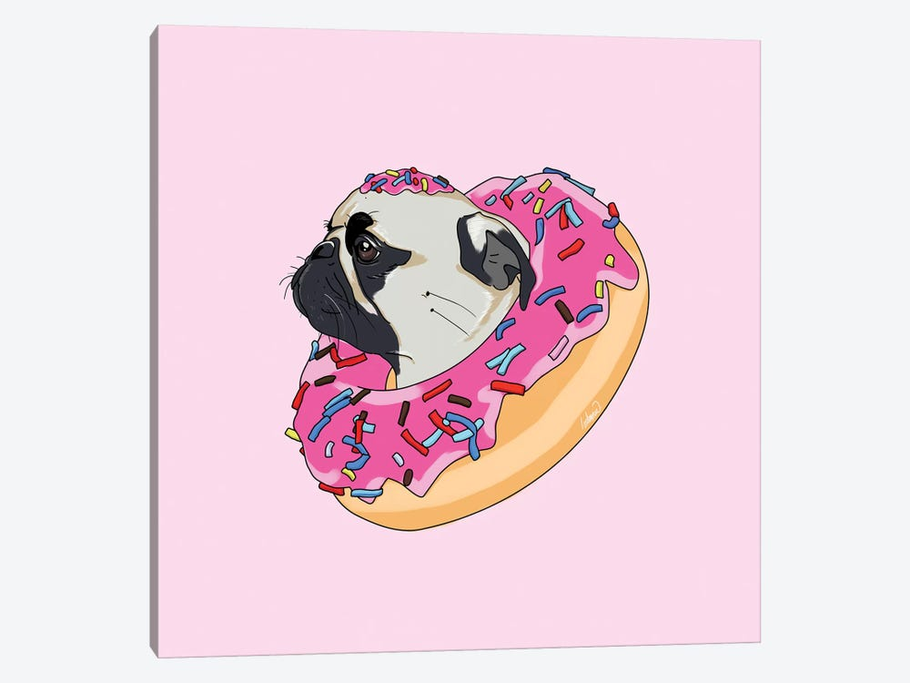 Pug Donut Strawberry II by Lostanaw 1-piece Canvas Print