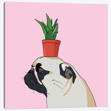 Pug Flower Pot Canvas Print #LSN39} by Lostanaw Canvas Artwork