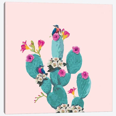 Cactus Hummingbirds Canvas Print #LSN3} by Lostanaw Canvas Wall Art