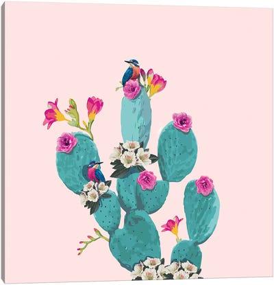 Cactus Hummingbirds Canvas Art Print
