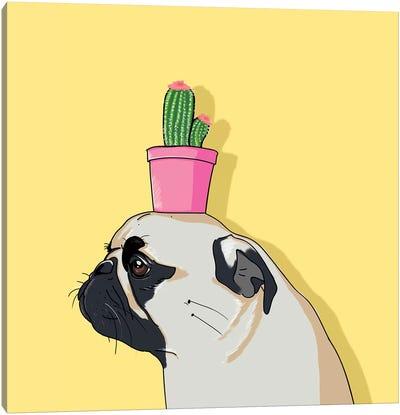 Pug Flower Pot Cactus Canvas Art Print