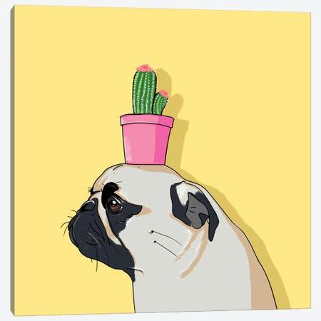 Pug Flower Pot Cactus Canvas Print #LSN40} by Lostanaw Canvas Art Print