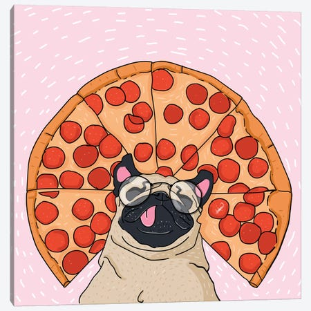 Pug Pizza Drawing Canvas Print #LSN42} by Lostanaw Canvas Art Print