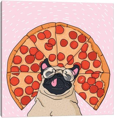 Pug Pizza Drawing Canvas Art Print