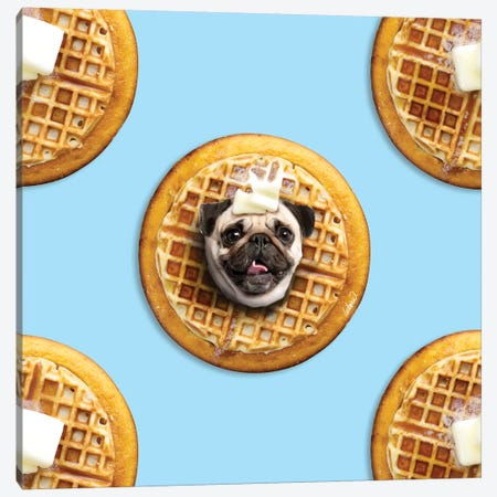 Pug Waffle Canvas Print #LSN43} by Lostanaw Art Print