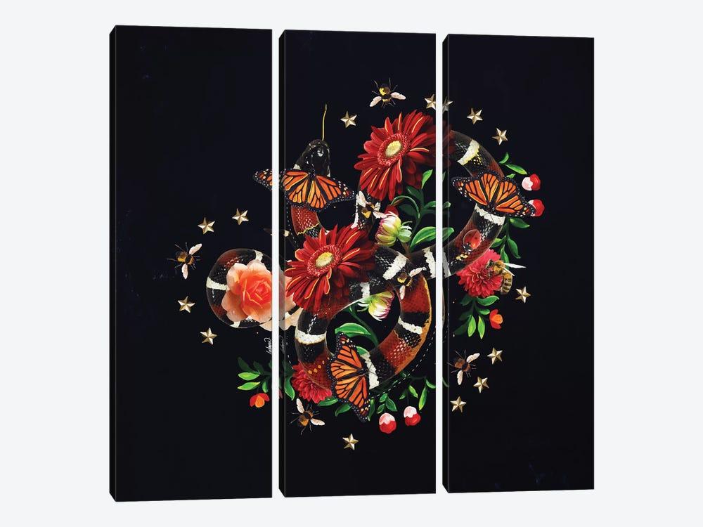 Snake Flowers by Lostanaw 3-piece Canvas Print