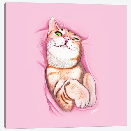 Sweet Kitty Canvas Print #LSN48} by Lostanaw Canvas Print