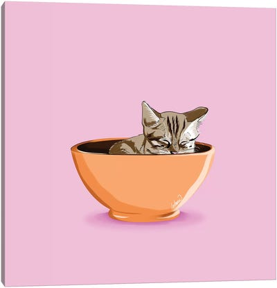 Cat Coffee Mug Canvas Art Print