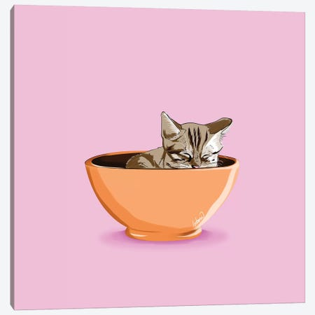 Cat Coffee Mug Canvas Print #LSN4} by Lostanaw Canvas Print