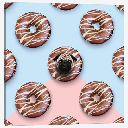 The Pug Donuts Canvas Print #LSN50} by Lostanaw Canvas Wall Art