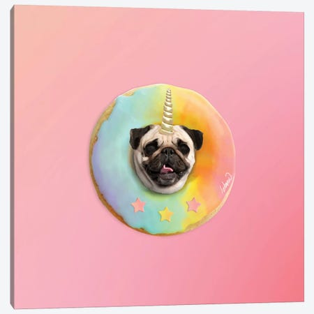 Unicorn Pug Pastel Donut Canvas Print #LSN54} by Lostanaw Canvas Print