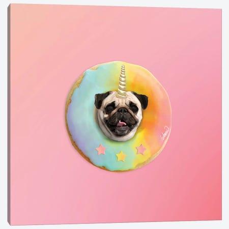 Unicorn Pug Pastel Donut Canvas Print #LSN54} by Lostanaw Canvas Print