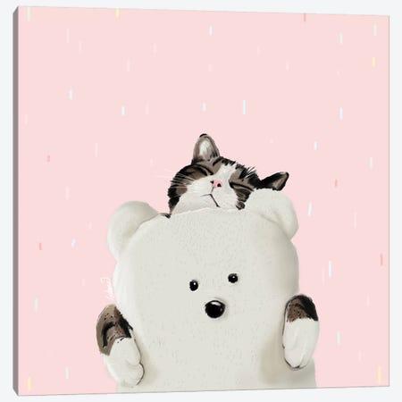 Cat Hug Me Canvas Print #LSN5} by Lostanaw Canvas Art Print