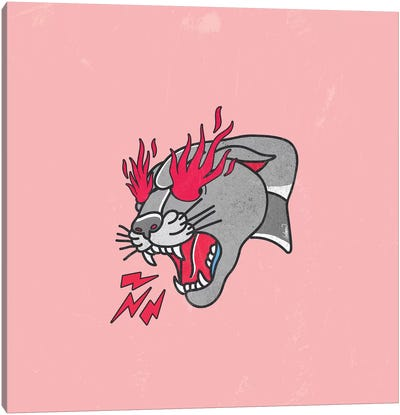 Panther Classic Tattoo Flames Rosa Canvas Art Print
