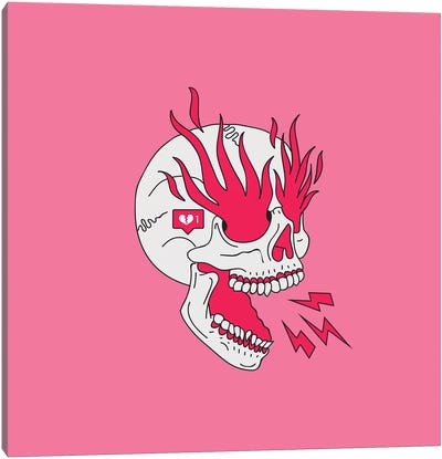 Skull Flames Girl Classic Tattoo Canvas Art Print