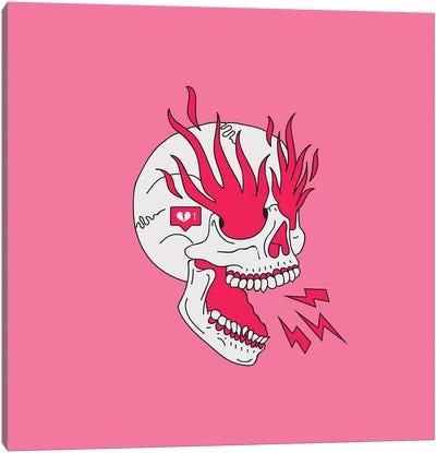 Skull Flames Girl Classic Tattoo Canvas Art Print
