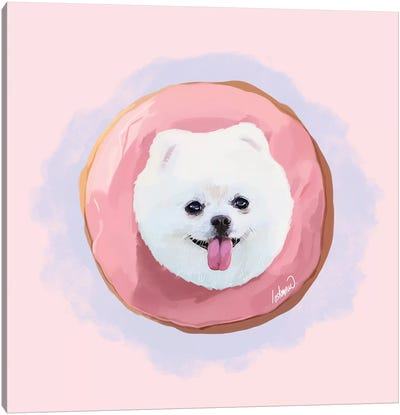 Pomeranian Strawberry Donut Canvas Art Print