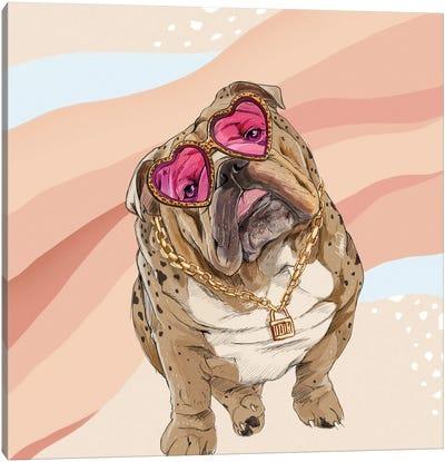 Fashion Bulldog Canvas Art Print