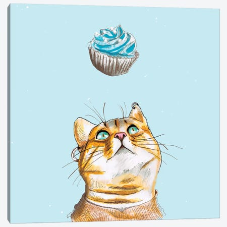 Cat Lover Cake Canvas Print #LSN6} by Lostanaw Art Print